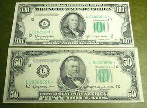 * 1950-D $100& $50 *STAR* FRN FEDERAL RESERVE NOTES SAN FRANCISCO, CA  AU ++