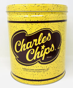 LARGE VINTAGE ADVERTISING TIN – CHARLES CHIPS, GOOD CONDITION
