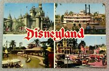 Vintage DISNEYLAND POSTCARD Town Square Sleeping Beauty Castle Mark Twain Jungle