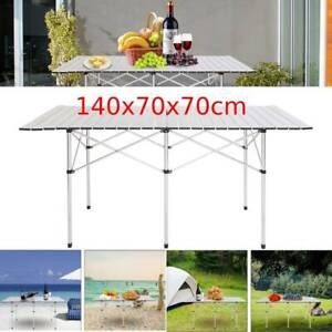 Portable Aluminum Roll Up Table Folding Camping Outdoor Indoor Picnic Heavy Duty