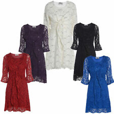New Ladies Plus Size Matching Shrug Women's Combo With Sequin Party Dress