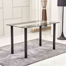 Stripe Glass Dining Table Metal Legs Dining Room Kitchen Home Furniture Black US