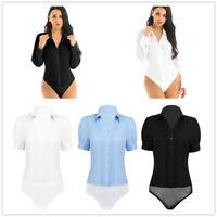 Sexy Women Turn-down Collar Bodysuit Shirt Button Down Business Work Blouse Top