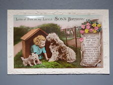 R&L Postcard: Birthday Greetings, Son, Dog Kennel Puppy, Rotary