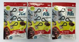 Set of 3 The Secret Life Of Pets Collectable 1 inch Micro Clip-on Chole
