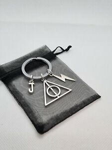 Large Personalised harry potter style Keyring, wizard gifts, deathly hallows