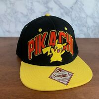 Pokemon Pikachu Snapback Hat Black & Yellow embroidered - FREE SHIP!