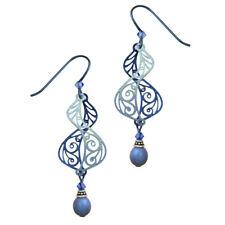 Adajio Dusty Sapphire Blue Filigree Helix Pierced Earrings ~Made in Colorado~