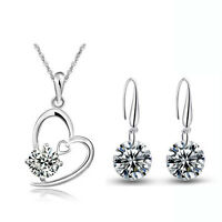 Silver and White Zircon Jewellery Set Drop  Earrings Heart Pendant Necklace S655