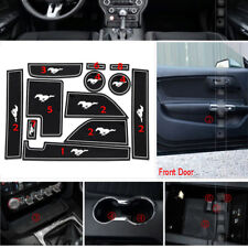 fit 2015+ Ford Mustang Non-slip Inner Door Slot Pad Rubber Cup Holder Mat White