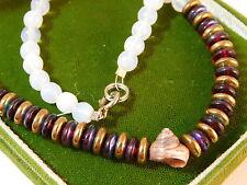 "Opaline White Glass Iridescent Bead Strand Sea Shell 16"" Long Necklace 3b 33"