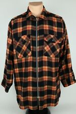 Vintage Palmettos Mens Medium Orange Plaid Acrylic Full Zip Flannel Shirt