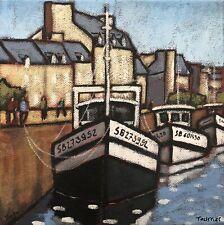 Tableau Peinture Port Dahouët Bretagne Bateaux Tourrier