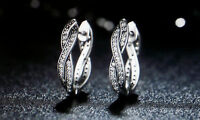 Damen Ohrringe Creole Oval 925 Sterling Silber mit Zirkonia Steinchen 1320