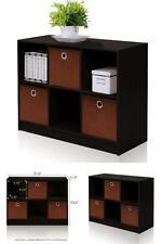 6 Cube Bookcase Storage Cabinet Books Wood Organizer Unit With Bins