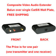 Composite Video Audio Extender Balun over single Cat5/6 Wall Plate,FREE SHIPPING