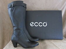 ECCO Hope Tall 65 MM Black Leather Zip Boots Shoes US 10 - 10.5 M EUR 41 NWB