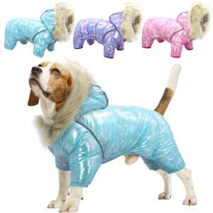 Dog Jumpsuit Winter Warm Coat Waterproof Jacket With Hood Fur Collar Reflective