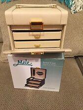 Mele & Co. Ivory Leatherette Jewel  Travel Jewelry Case Jewel Box with Mirror