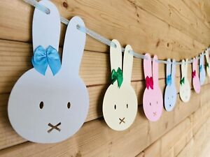Bunny Bunting Garland Blue Pink & Green Baby Shower Easter Decor Ribbon Tie 4m