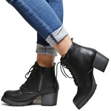 New Women Combat Platform Lace Up Lug Sole Chunky Heel Ankle Boots Booties