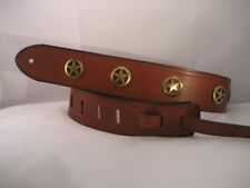 LEATHER TAN  GOLD TEXAS RANGER CONCHOS BASS, ACOUSTIC GUITAR STRAP