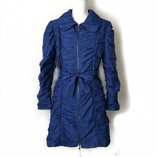 Samuel Dong Ruffle Puffy sleeve Belted Trench Coat Jacket Blue Size Small S #010