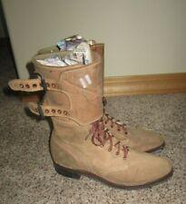 ORIGINAL WW2 US DOUBLE BUCKLE COMBAT BOOTS W / CAPTIANS BARS SZ 7-1/2