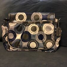 Coach Signature Snaphead F18377 Blue Multifunction Diaper Baby Messenger Bag NWT