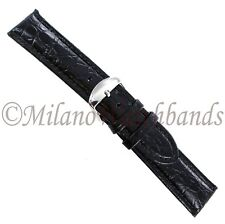 20mm Hadley Roma Black Genuine Leather Padded Crocodile Grain Mens Band MS 907