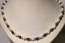 Gold Metal, White Faux Pearl and Lapis Lazuli Beaded Necklace (19 inches)
