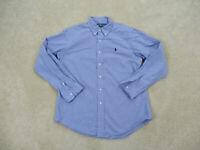 Ralph Lauren Polo Button Up Shirt Adult Large Blue White Long Sleeve Mens A64