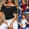 Womens' Ladies Casual Cold Shoulder Tops Short Sleeve T-Shirt Tee Blouse Fashion