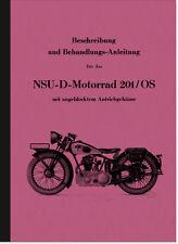 NSU NSU-D 201/OS Bedienungsanleitung Betriebsanleitung Handbuch Beschreibung 201