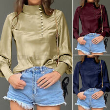 US Womens Long Sleeve Silky Satin Victorian Shirt OL Party Blouse Tops Plus Size