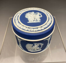 Antique Wedgwood Blue Dip English Porcelain Jasperware Trinket Box