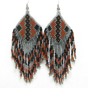 NEW HANDCRAFTED BROWN BLACK GREY EARRINGS BEADED FASHION JEWELRY E17/25
