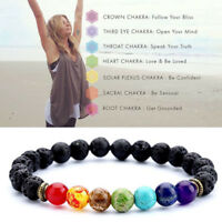 7 Gemstone Buddha Chakra Rock Lava Stone Reiki Amethyst Bead Bracelet Bangle