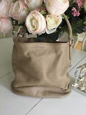 Longchamp  Hobo Shoulder Handbag Beige Pebble Leather AUTHENTIC Purse