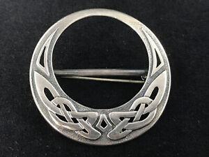 Vintage OLA GORIE Celtic scarf brooch, hallmarked sterling silver Edinburgh 1990