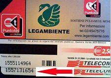 G 1609 111 A SCHEDA TELEFONICA LEGAMBIENTE VARIANTE NON CATALOGATA OCR 21 MM
