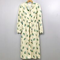 Vintage Leslie Fay Floral Midi Dress Long Sleeve Tie Waist Button Front