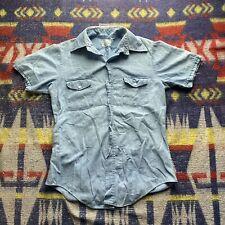 "New listing 1960s Vintage Cotton Chambray Work Shirt Short Sleeve ""sanforized� Denim M"