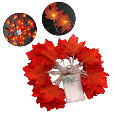 For Halloween Fall Autumn Pumpkin Garland Decor 3M LED Maple Leaves Lighted