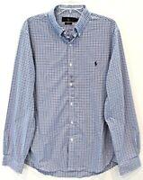Polo Ralph Lauren Mens Navy Blue Checks Slim Fit Button-Front Shirt NWT Size XL