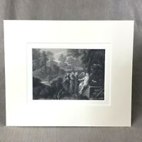 Antique Victorian Engraving The Garden Tomb of Jesus Christ Angels  Ca. 1860