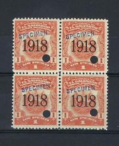 El Salvador 1918 Specimen 1 peso Revenue municipal block 4 MNH