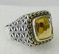 Sterling Silver and 14k Yellow Gold Ring Hammered Design Size 7