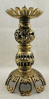 Vintage Ornate Brass Pillar Candle Holder Japan 10 inches Tall