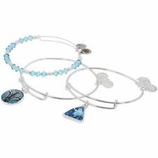 Alex and Ani Blue Lotus Set of 3 Shiny Silver Bangle Bracelet A18SETBLSS